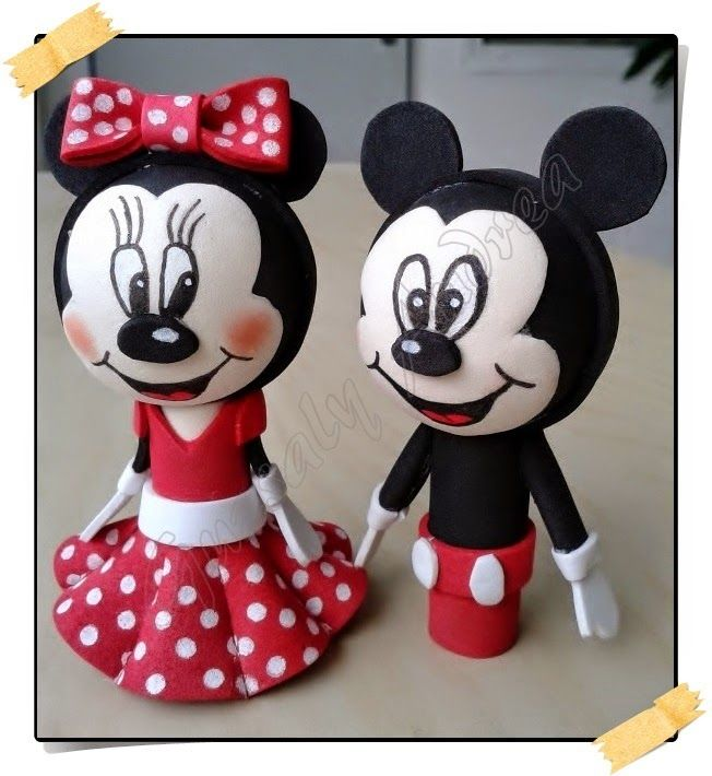 Minnie & Mickey / Dekorgumi baba / Craft foam doll / Moosgummi-Puppe