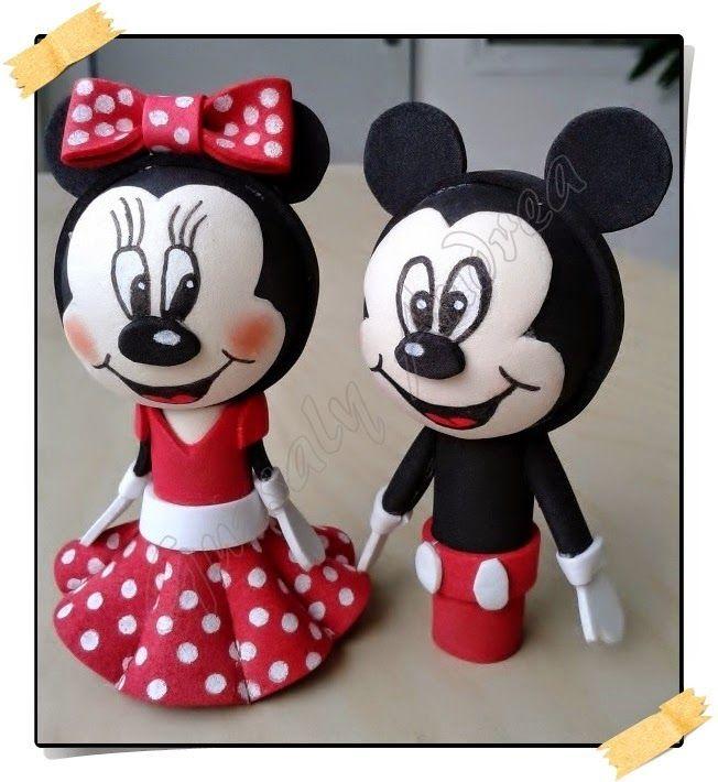 Minnie & Mickey / Dekorgumi baba / Craft foam doll / Moosgummi-Puppe