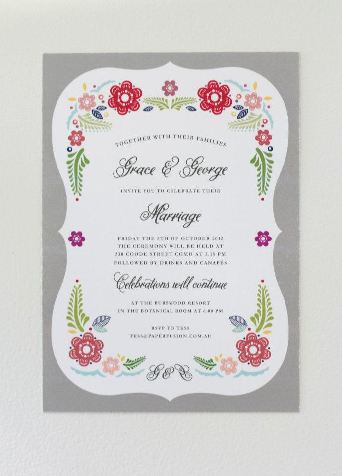 Grey #Mexican #Fiesta wedding invitation