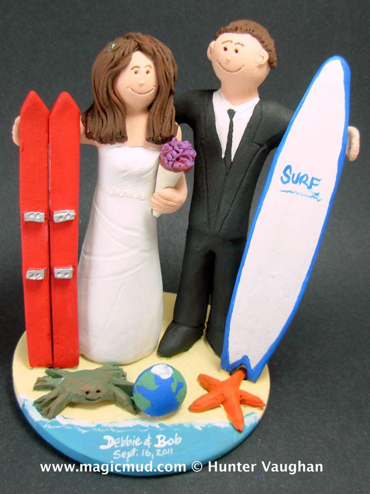 Surfer Marries Skiier Wedding Cake Topper http://www.magicmud.com   1 800 231 9814  magicmud@magicmud.com $235  https://twitter.com/caketoppers         https://www.facebook.com/PersonalizedWeddingCakeToppers   #surfer#surfing#wedding #cake #toppers #custom #personalized #Groom #bride #anniversary #birthday#weddingcaketoppers#cake-toppers#figurine#gift#wedding-cake-toppers #ski#skiing#snowBoard#snowboarding#downhillSki#skihill