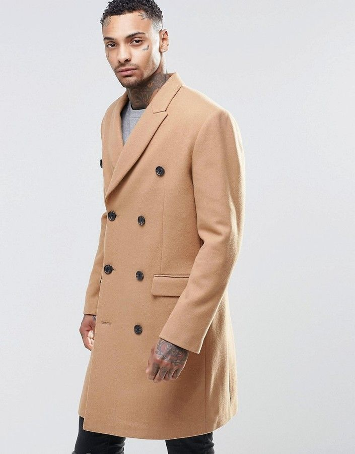 Asos Wool Mix Double Breasted Overcoat In Camel