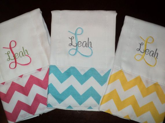 Chevron Personalized Monogrammed Baby Burp Cloths - Set of 3 - Aqua, Pink, Yellow - Perfect for a Girl Baby Shower on Etsy, $29.99