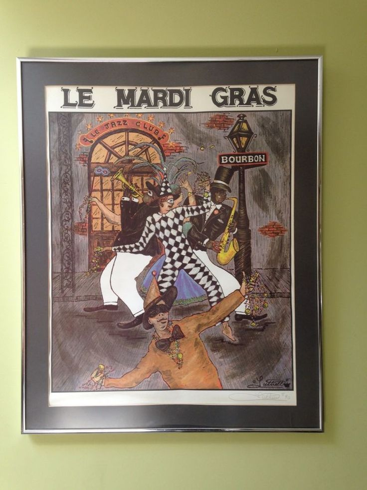 Framed George Luttrell Signed Mardi Gras New Orleans Jazz Poster Litho Print 89'…