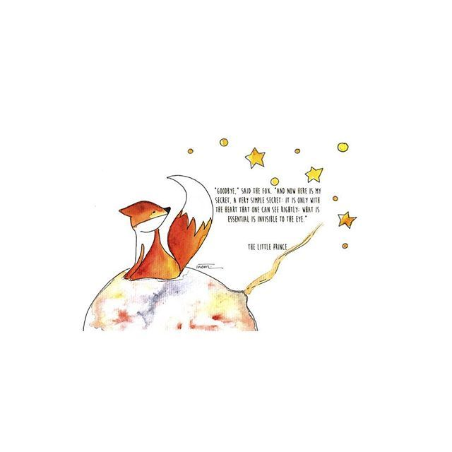 """The Little Prince Inspired Quote 2nd Edition Art Print: """"Goodbye"""" Said The Fox. And Now Here Is My Secret, A Very"""
