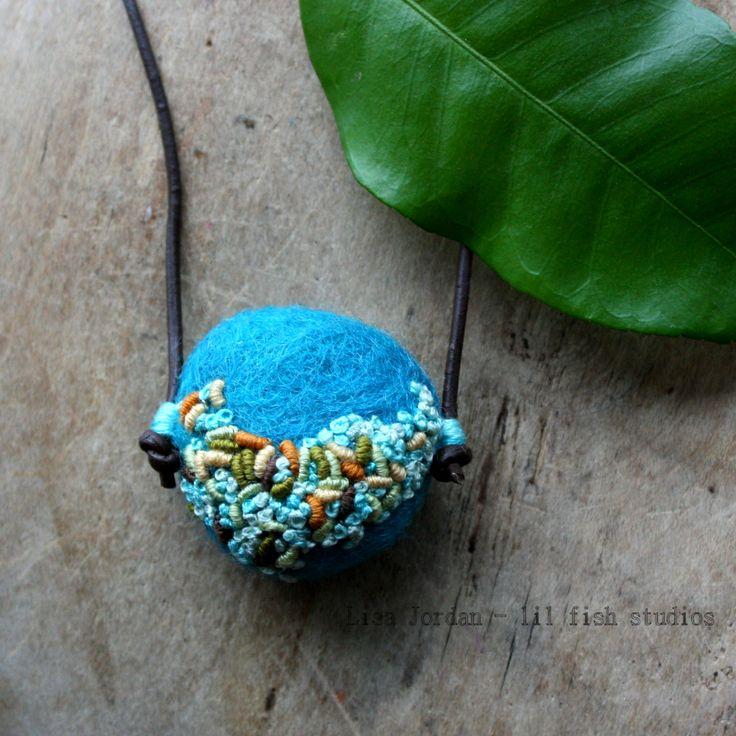 a textural felted wool stone necklace by lil fish studios