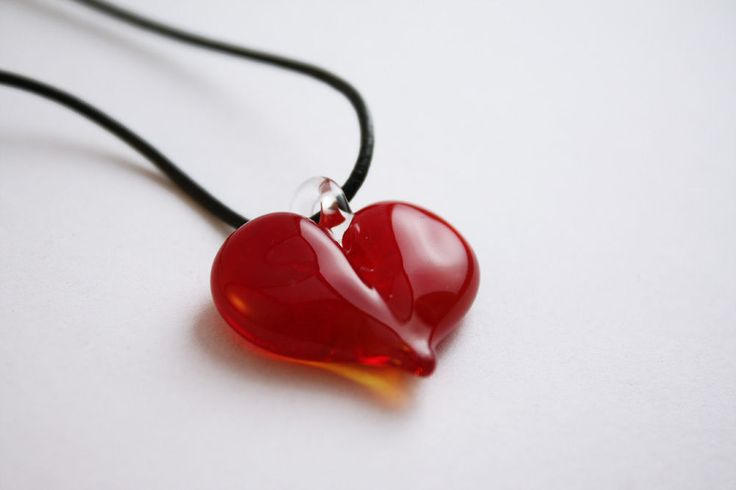 Red Glass Heart Pendant - GlassFlemming