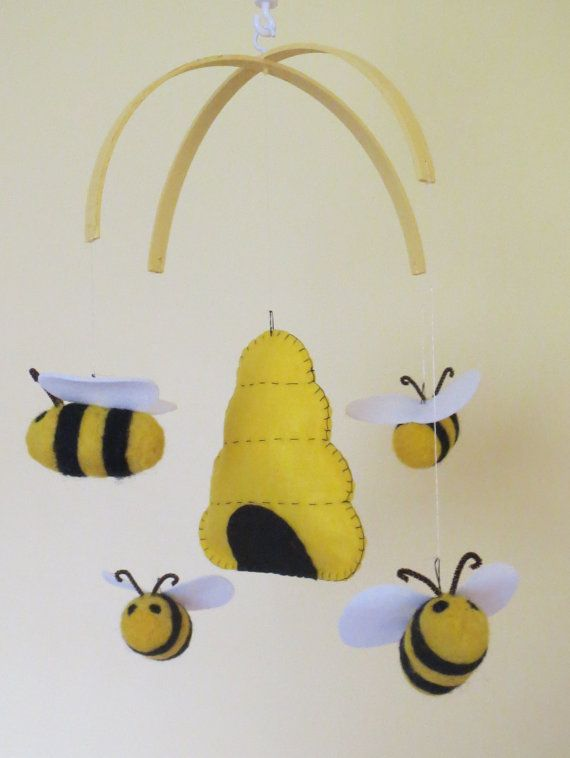 Bumblebee Mobile Bee Mobile Black yellow by ModernSimpleBaby