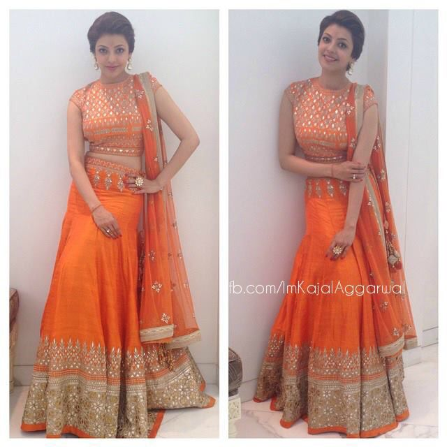 Lehenga Orange Fitted top. Mermaid flare lehenga