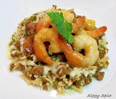 Cajun Shrimp Scampi over Dirty Rice.  Double YUM!