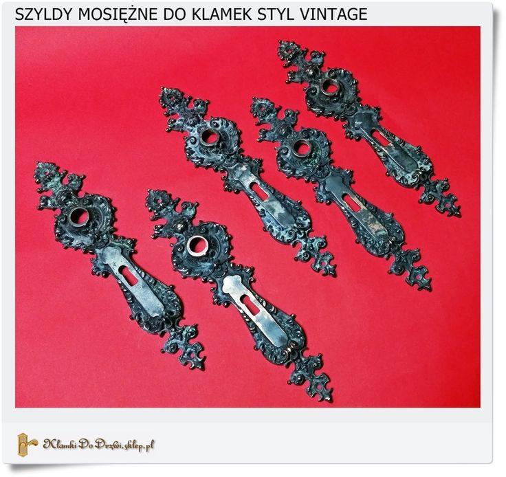 Duża mosiężna klamka bramowa na klucz z piórem (VINTAGE)