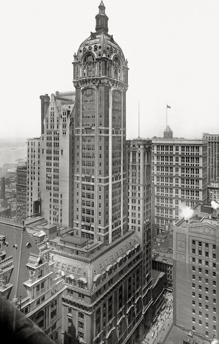 Singer Building, New York City | New York - History - Geschichte. Architect: Ernest Flagg and Walter.  Walter was a favorite of the Clarks and was often used for the design of their buildings.  The Singer Building was the tallest building in the World from 1908-1909. It was demolished in 1968.