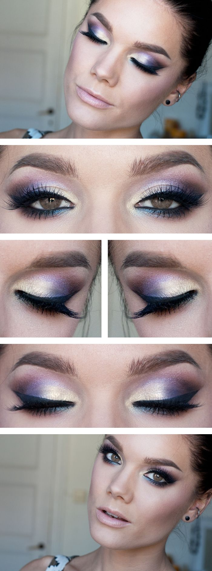 """Insomnia"" -Linda Hallberg (another shimmer and shine look using Too Faced Enchanted Glamourland, this one has a lovely combo of ivory-peach, purples, pinks and blue in lower lash line ... again paired with a nude lip)"