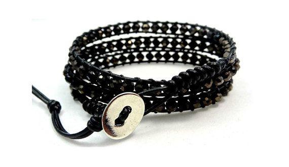 Leather Wrap Bracelet, Jet Black Crystals 3 Leather Wrap Bracelet, Wrap Bracelet, Triple Leather Wrap Bracelet, Bohemian Bracelet, Boho Wrap