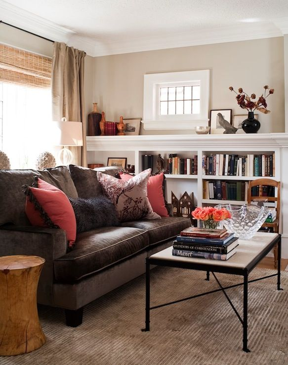 Jennifer Worts Design: Transitional living room design with chocolate brown velvet sofa, bamboo roman shades, ...