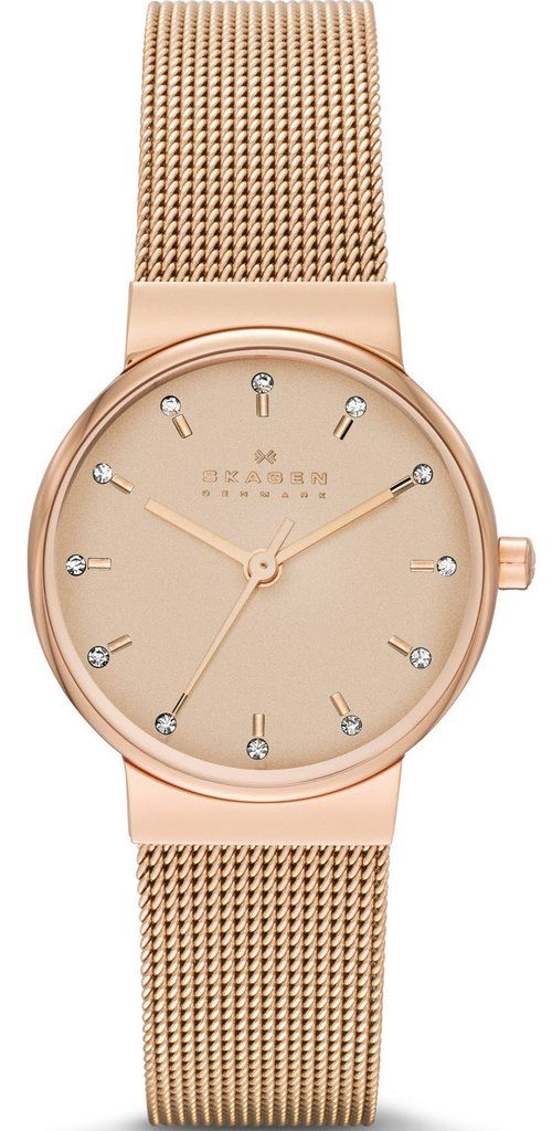 Skagen Watch Ancher Ladies #bezel-fixed #bracelet-strap-gold-pvd #brand-skagen #case-material-rose-gold-pvd #case-width-26mm #delivery-timescale-4-7-days #dial-colour-gold #fashion #gender-ladies #movement-quartz-battery #official-stockist-for-skagen-watc