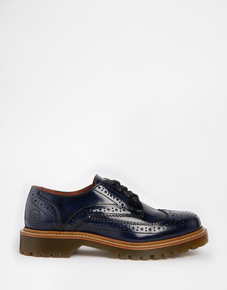 Imagen 2 de Zapatos Oxford planos en azul marino de Bronx