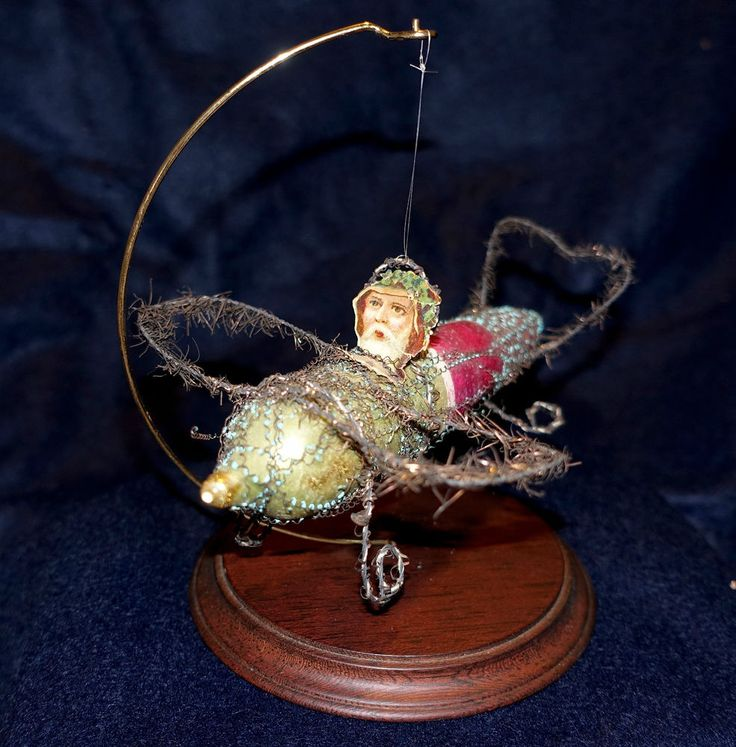 Antique Santa on Airplane Christmas Ornament, Wired Tinsel, Blown Glass, w/stand