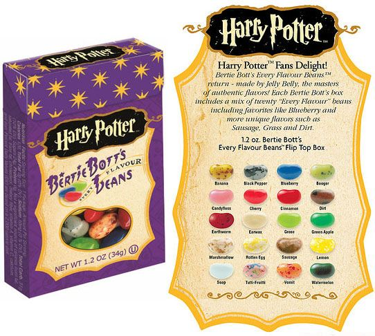 harry potter bertie bott's beans! watch out..the tutti-frutti looks like the vomit. and the vomit really does taste like....vomit. so gross. i thought i was going to die.
