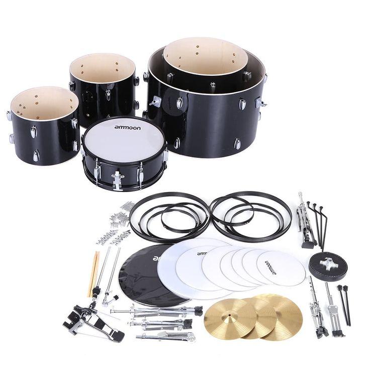 ammoon 5-Piece Complete Adult Drum Set Drums Kit Percussion Sales Online black - Tomtop.com
