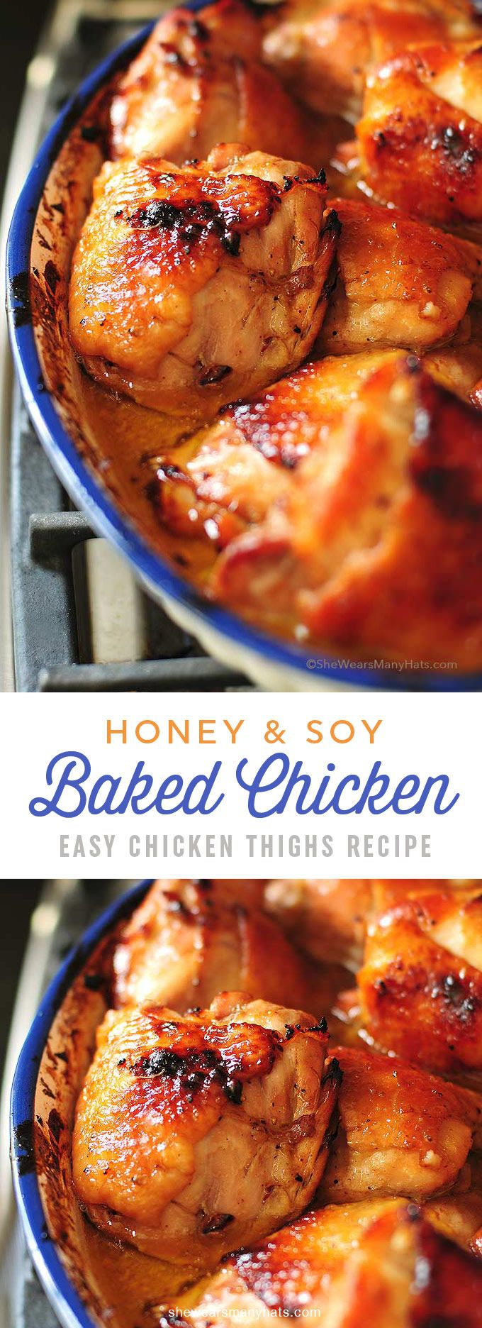 Honey Soy Baked Chicken Thighs Recipe shewearsmanyhats.com
