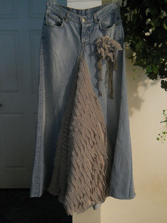 Belle Époque ruffled jean skirt sparkly grey : bohemienneivy - etsy