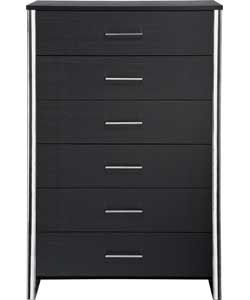 New Genova 6 Drawer Chest - Black.