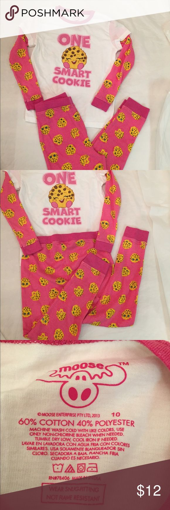 Shopkins Sleepwear Set Girls size 10 but this runs small. Posting as an 8. Long sleeve Shopkins graphic top and long pants bottoms. Lightweight long sleepwear set. Excellent used condition. Thanks! Shopkins Pajamas Pajama Sets
