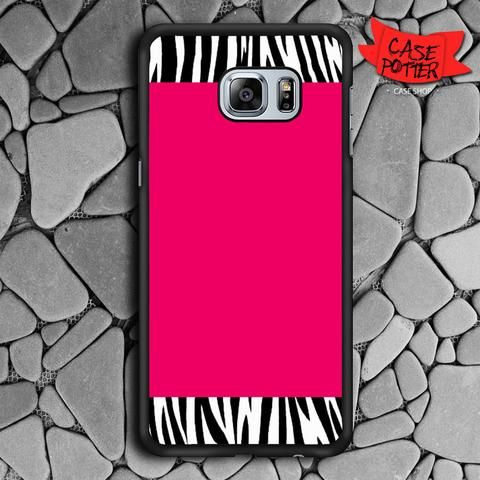 Zebra Pattern On Hot Pink Samsung Galaxy S7 Edge Black Case