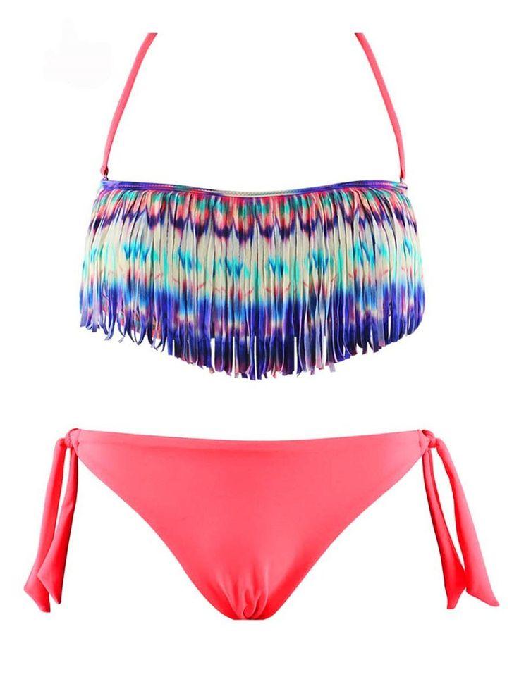 Maillot de Bain Femme Bikini 2 pièces Fluo Bandeau à Franges: Amazon.fr: Vêtements et accessoires