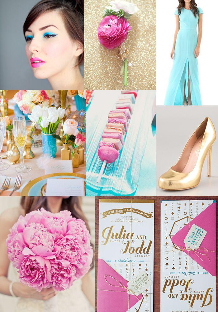Hot Pink + Gold + Aqua Inspiration Board