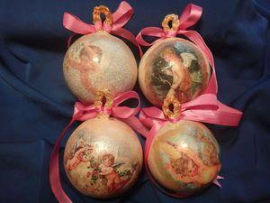 Создем елочные шары с ангелочками из гипса в ретро стиле | Ярмарка Мастеров - ручная работа, handmade