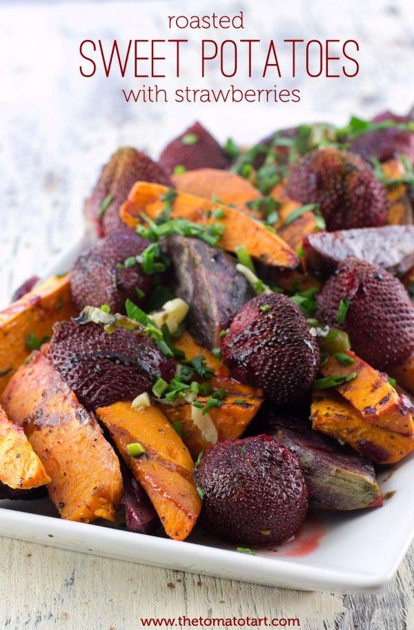 Spicy Roasted Sweet Potato & Strawberries