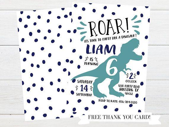Dinosaur birthday party invitation from Little Lemon Design Co.! Dinosaur party, dinosaur printable, dinosaur invite, dinosaur birthday, boy birthday ideas, boy birthday invitation, t-rex birthday, t-rex invitation