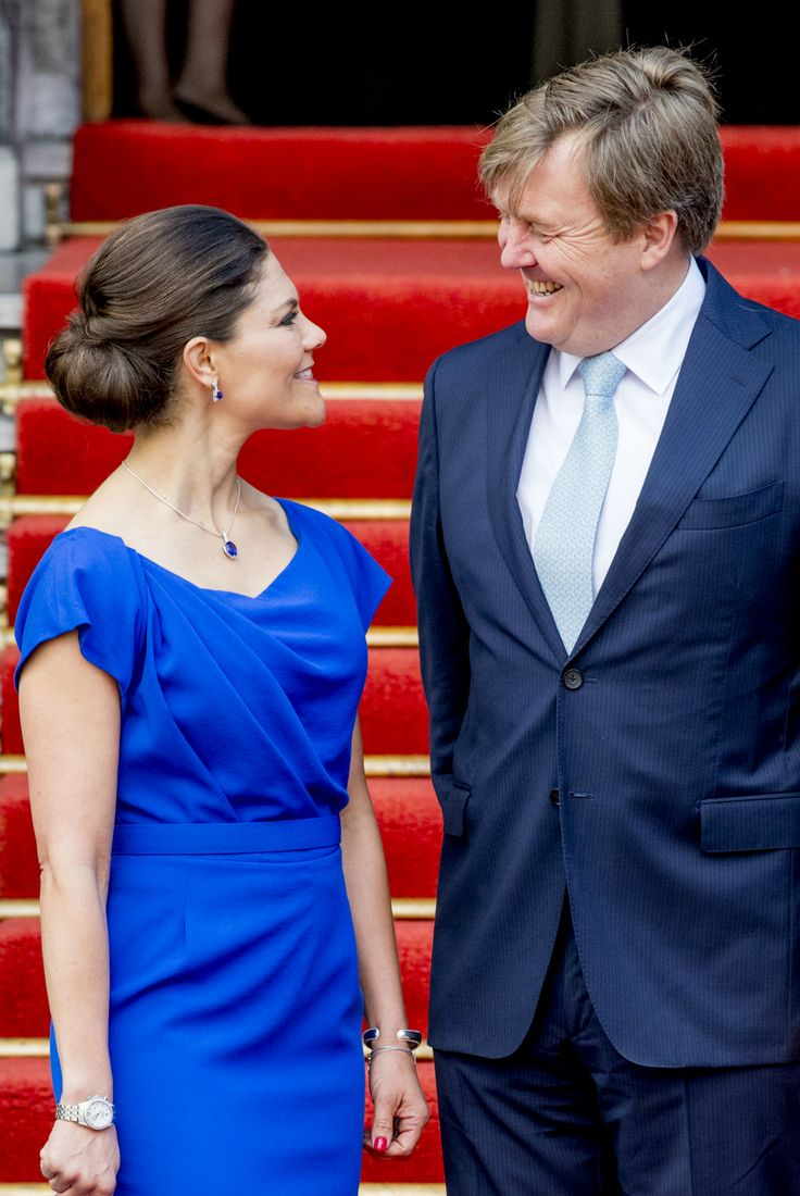 King Willem-Alexander I of the Netherlands receives Crown Princess Victoria of Sweden at the Hague to celebrate the 20th anniversary celebration and the establishment of the Chemical Weapons Prohibition Organization