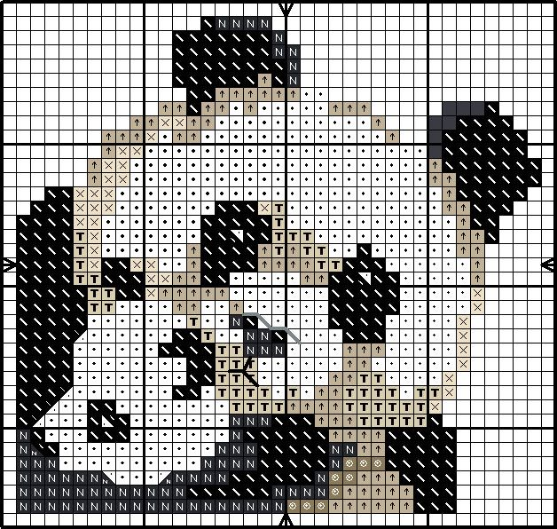 Panda cross stitch chart. Any cross stitch pattern can be used to make mosaics as well! Just use coordinating colors, and place as shown, gluing each tile in place. when dry....grout!~Debi