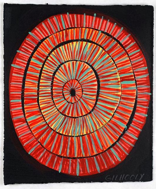 "(c) Barbara Gilhooly  Play #6  acrylic, ink on paper  5"" x 6"""