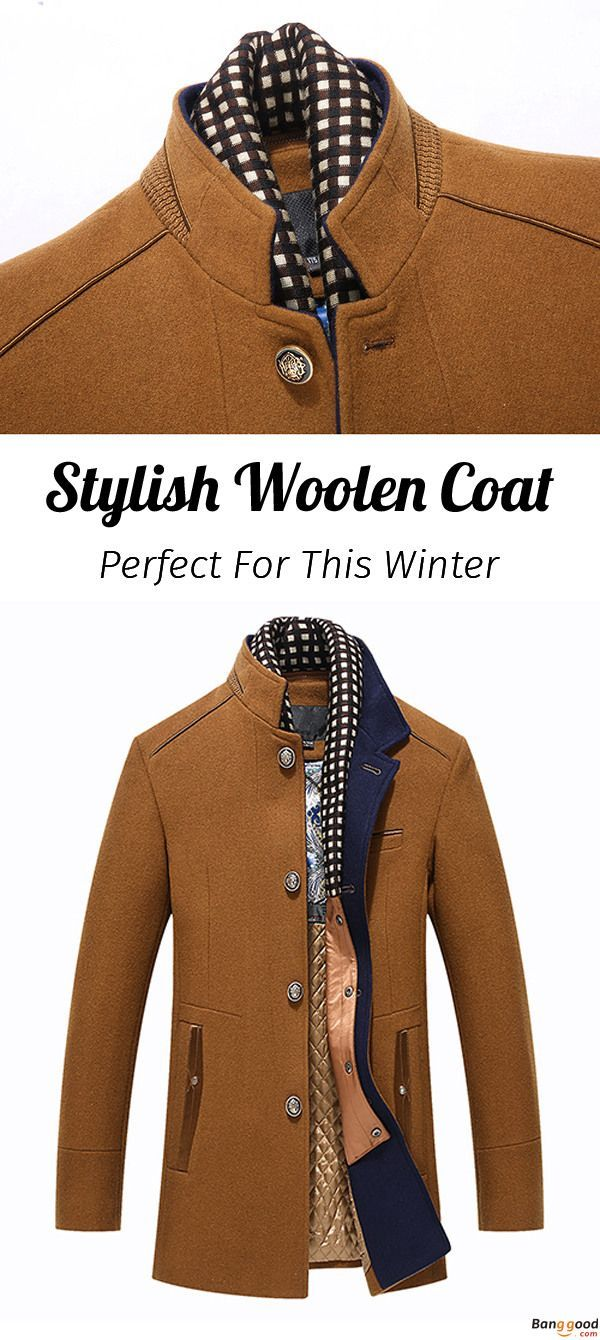 c9711a85b41 Autumn Winter Casual Slim Fit Stand Collar Scarf Detachable Stylish Woolen Overcoat  Jacket for Men. US Size  S - XL.     To View Further