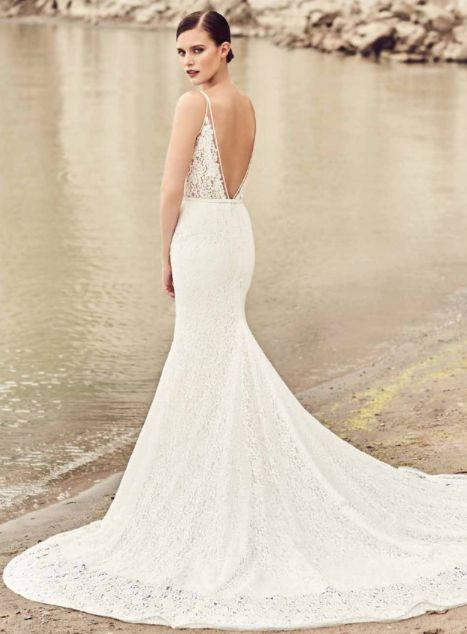 MIKAELLA BY PALOMA BLANCA // ONE & ONLY BRIDAL // If you're looking for a dramatic train and fitted wedding dress, this MPB is for you. We adore the all over lace of this dress combined with its low back and v-neck.