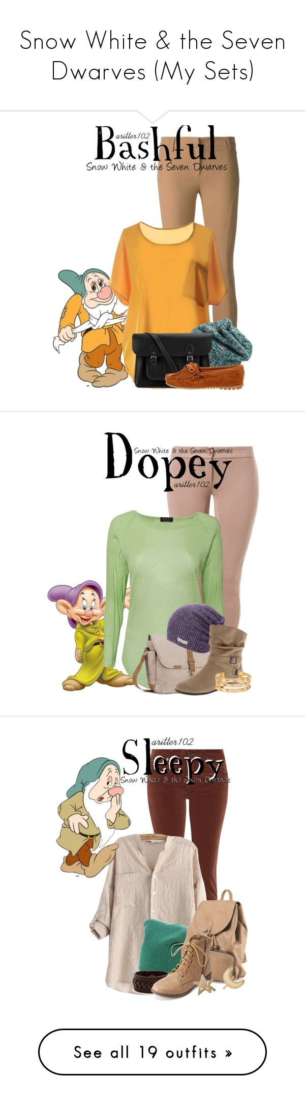 """""""Snow White & the Seven Dwarves (My Sets)"""" by aritter102 ❤ liked on Polyvore featuring 7 For All Mankind, Brunello Cucinelli, King & Fifth Supply Co., The Cambridge Satchel Company, Minnetonka, Patrizia Pepe, Disney, Neera, Timbuk2 and Neff"""