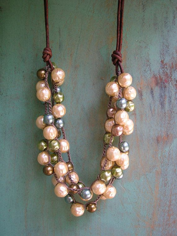 Crochet pearl necklace leather Bubbly bib by 3DivasStudio