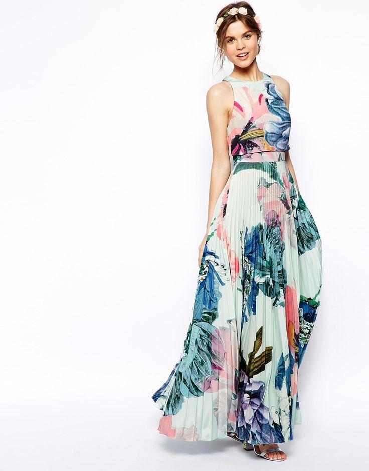 Asos Salon Pleated Crop Top Maxi Dress
