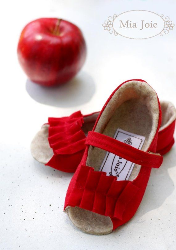 handmade Red Peep Toe Baby / Toddler Shoes