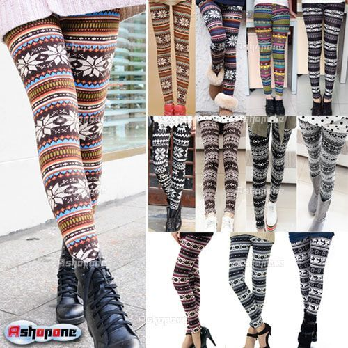 Tights Knitting Pattern : Details about New Womens Nordic Deer Snowflake Knitted Leggings Tights P...
