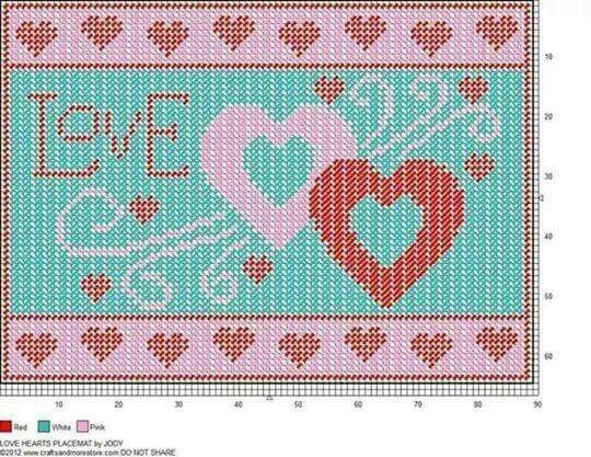 Plastic Canvas Love Heart Sign pattern