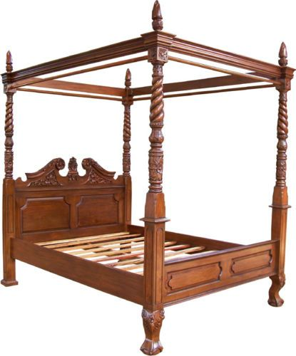 Reproduction-Mahogany-Queen-Anne-Style-4-Poster-5-039-King-Size-Canopy-Bed-New