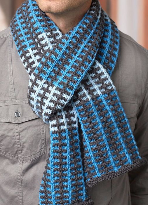 Free Knitting Pattern for Slipped Stripes Scarf - This easy scarf uses slipped stitches to create the colorful pattern. Designed by Stacey Gerbman for Red Heart