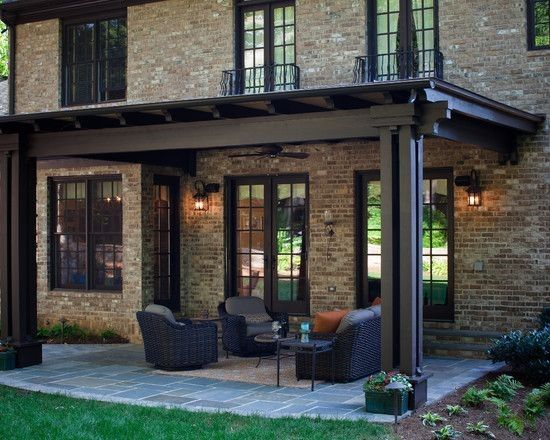 Terrific Pergola Roof Covering Designs : Traditional Exterior Covered Pergola Patio With Hard Top And Brick Wall