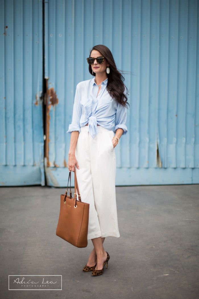 Like To Know It- How to use it and how to get it tips on The Miller Affect! White wide-leg crop pants, Karen Walker Super Duper.