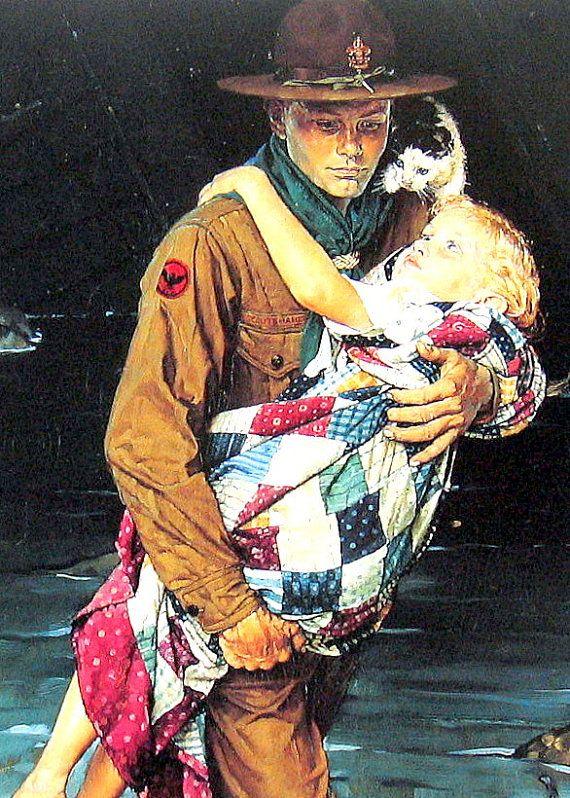 Boy Scout  Norman Rockwell Art  1993 Vintage by mysunshinevintage, $10.00