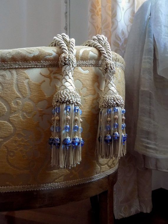 Pair Of Lovely Blue Vintage French Curtain Tiebacks With Tassels